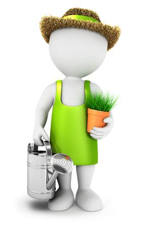 3D-weiße Menschen Gärtner mit einer Gießkanne, isoliert auf weißem Hintergrund, 3D-Bild