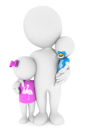 3d white people with his children, isolated white background, 3d image