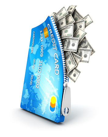 3d open credit card with dollar bills, isolated white background, 3d image photo