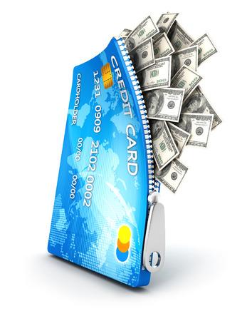 Tarjeta de crédito abierta 3d con billetes de dólar, fondo blanco, imagen 3d Foto de archivo - 22981817