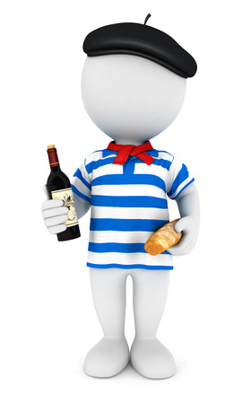 frenchman: 3d white people frenchman, isolated white background, 3d image Stock Photo