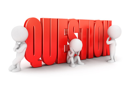 3d white people important question, isolated white background, 3d image photo