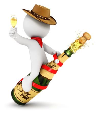 3d witte mensen champagne rodeo, witte achtergrond, 3d beeld
