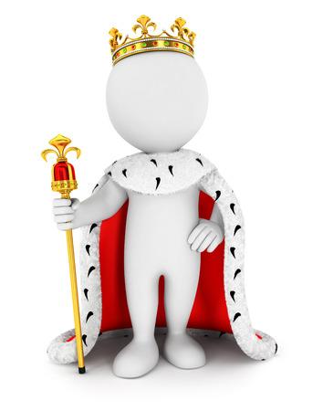 3d witte mensen koning, witte achtergrond, 3d beeld Stockfoto