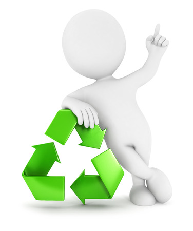 rubbish: 3d white people recycle sign, isolated white background, 3d image