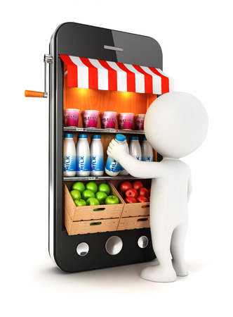 3d witte mensen supermarkt, witte achtergrond, 3D-beeld op