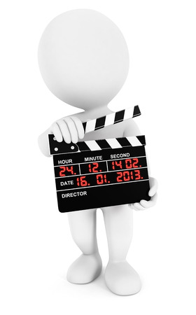 3d white people movie clapper, isolated white background, 3d image photo