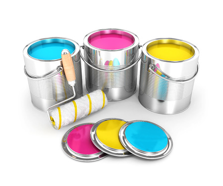 paint cans: 3d paint cans and roller brush, isolated white background, 3d image Stock Photo
