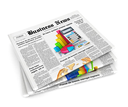 topical: 3d stack of newspapers, isolated white background, 3d image Stock Photo