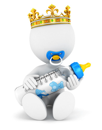 3d white people baby king, isolated white background, 3d image Фото со стока