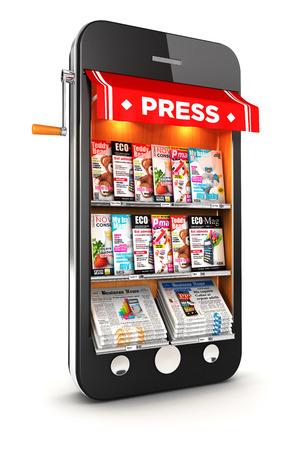 3d газетные киоски смартфон, изолированные белый Фото со стока