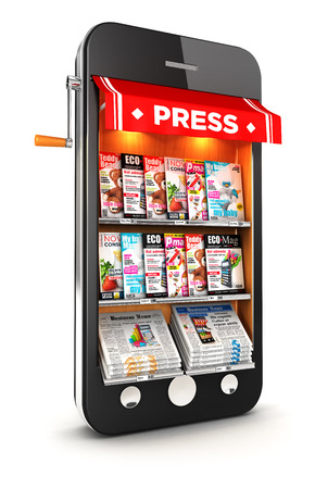 3d newsstand smartphone, isolated white  Banco de Imagens