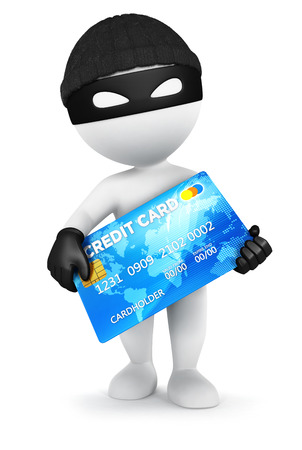 credit risk: 3d white people thief with a credit card,