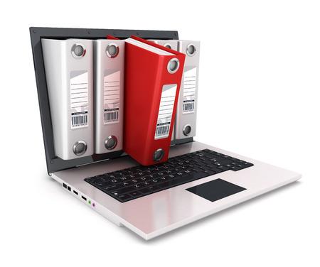 3d ringband binnenkant laptop, witte achtergrond, 3d beeld