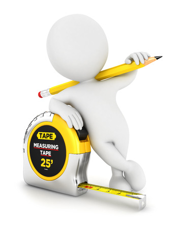 small tools: 3d white people measuring tape, isolated white background, 3d image Stock Photo