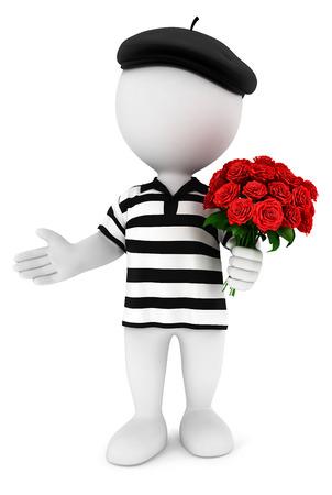 3d witte mensen romantische fransman met een bos rozen, witte achtergrond, 3d beeld