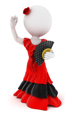 3d white people flamenco dancer, isolated white background, 3d image Фото со стока