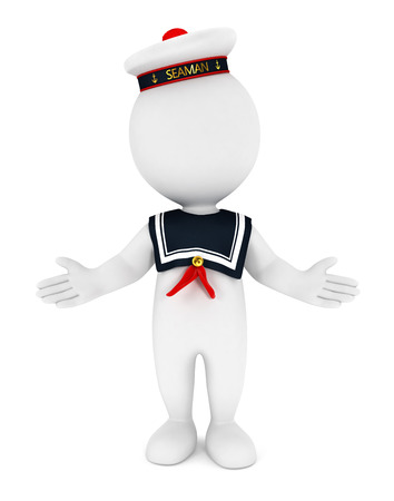 3d white people seaman, isolated white background, 3d image Stock Photo