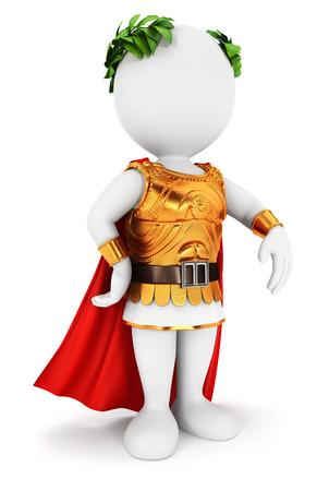3d witte mensen Romeinse keizer, witte achtergrond, 3d beeld