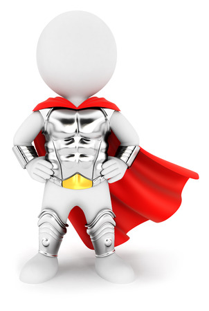 invincible: 3d white people superhero with an armour, isolated white background, 3d image