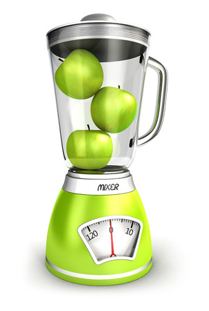 juicer: 3d mixer scales with apples, isolated white background, 3d image Stock Photo