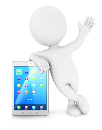 3d witte mensen met een tablet, witte achtergrond, 3d beeld