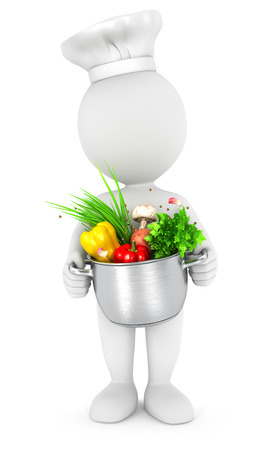 3d white people with cooking pot, isolated white background, 3d image
