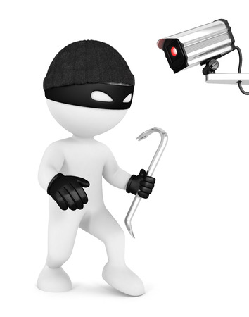 crowbar: 3d white people thief and security camera, isolated white background, 3d image Stock Photo