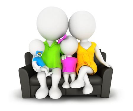 3d white people family sitting on sofa, isolated white background, 3d image