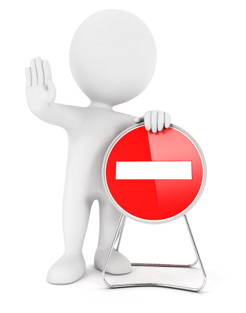 no entry sign: 3d white people no entry sign, isolated white background, 3d image