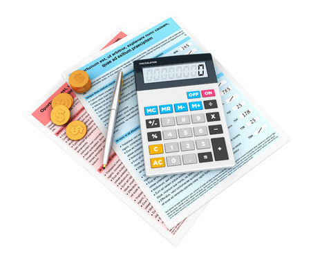 statement: 3d financial statement with a calculator and currency