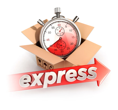 3d expressdiensten concept, geïsoleerde witte achtergrond, 3d beeld Stockfoto
