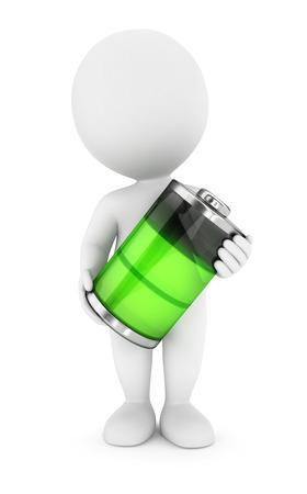 3d witte mensen groene batterij, witte achtergrond, 3d beeld