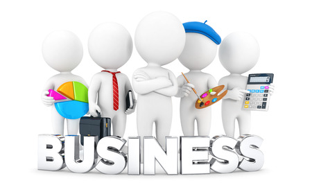 statistician: 3d white people business jobs, isolated white background, 3d image Stock Photo