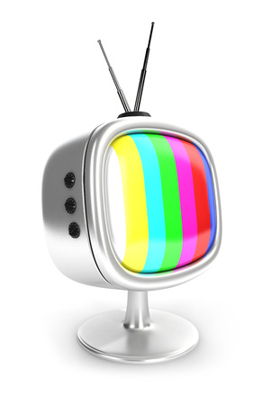 retro tv: 3d vintage television, isolated white background, 3d image