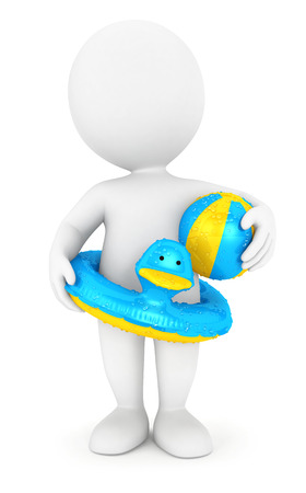 3d swimming pool: 3d white people with a swim ring and a ball, isolated white background, 3d image