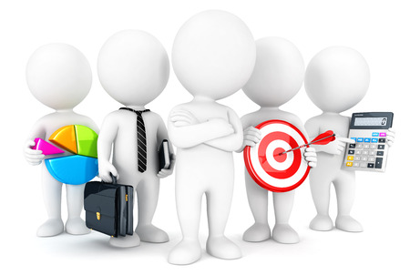 statistician: 3d white people business concept, isolated white background, 3d image Stock Photo