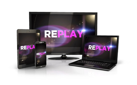tv screen: 3d replay screen on computer devices, isolated white background