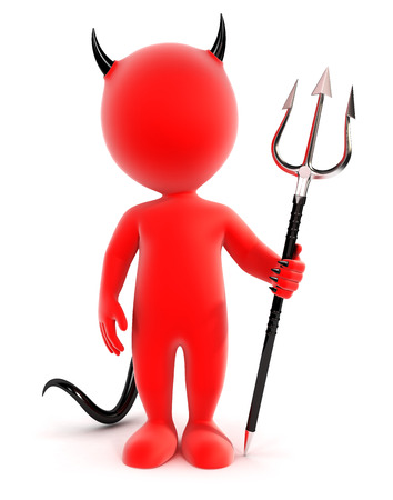 red devil: 3d white people devil, isolated white background