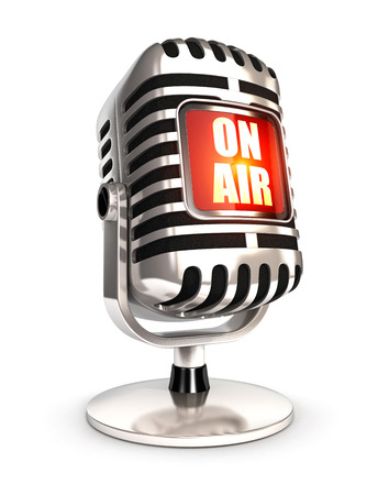 3d retro microphone on air, isolated white background, 3d image