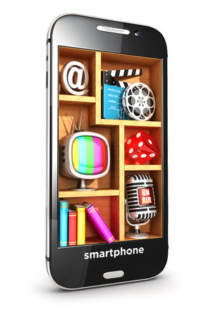 multimedia icons: 3d smartphone multimedia concept, isolated white background, 3d image Stock Photo