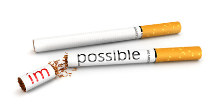possible: 3d stop smoking concept, impossible to possible, isolated white background, 3d image