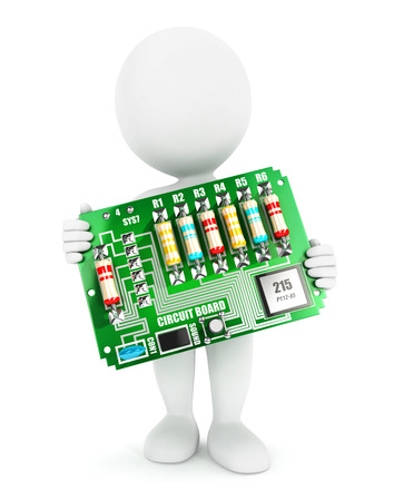 3d witte mensen elektronische circuit board, witte achtergrond, 3d beeld
