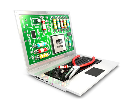 repair computer: 3d circuit board on laptop screen concept, isolated white background, 3d image Stock Photo