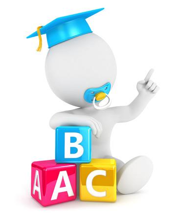 abc blocks: 3d white people baby abc blocks, isolated white background, 3d image Stock Photo