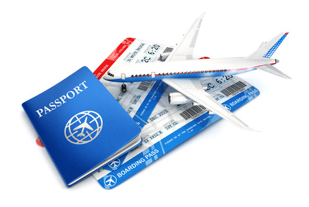 passport background: 3d travel concept with airplane, passport and boarding pass, isolated white background, 3d image