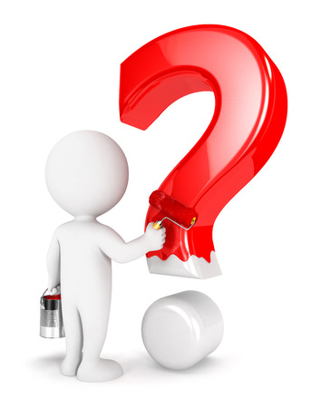 interrogative: 3d white people painting question mark, isolated white background, 3d image