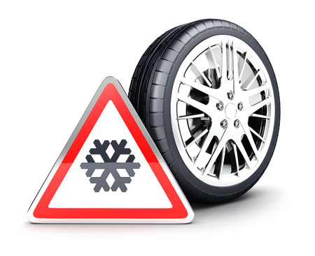 snow tires: 3d snow wheel and snowflake warning sign, isolated white background, 3d image