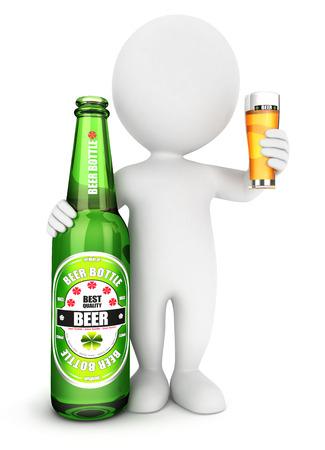 3d witte mensen bierfles, witte achtergrond, 3d beeld