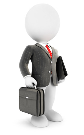 business briefcase: 3d white people elegant businessman, isolated white background, 3d image Stock Photo
